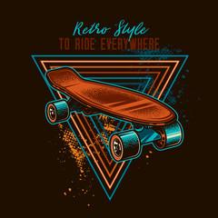 Vintage skateboard. Original vector illustration. T-shirt design