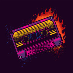 Original vector illustration of an old neon cassette with magnetic film on the background of a bright fire