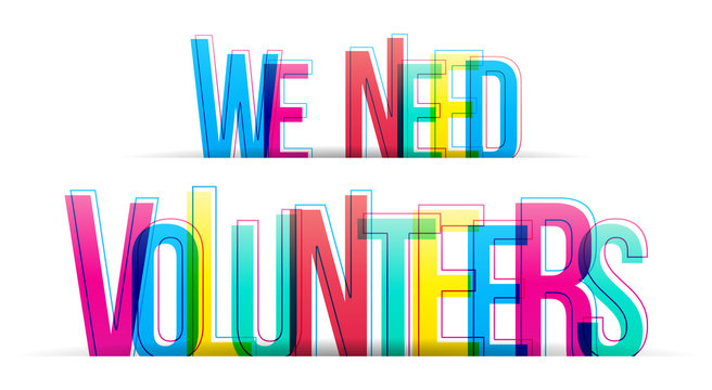 We need Volunteers. Banner for business, marketing and advertising. Vector illustration