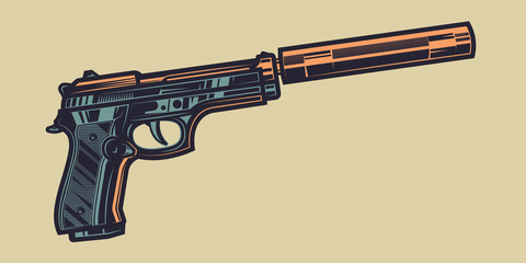 Original color vector illustration of a pistol with a silencer in vintage style