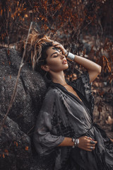 Foto op Aluminium People beautiful young woman outdoors portrait
