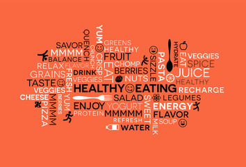 Fotorolgordijn Positive Typography Healthy Eating themed word cloud with icons and emojis.