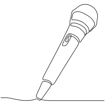 one line drawing wired microphone vector illustration minimalist design