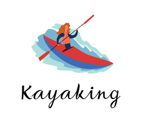The girl is swimming in a kayak. Kayaking inscription. Vector full color graphics. Hand drawing