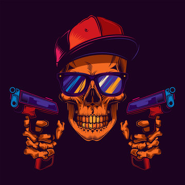 Original neon vector illustration of a skull bandit wearing glasses and a cap, with two guns in his hands. T-shirt or sticker design.
