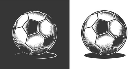 Original monochrome vector illustration of a retro style soccer ball