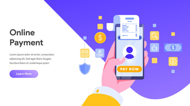 Mobile payment or money transfer concept. E-commerce market shopping online illustration with people character. template for web landing page, banner, presentation, social media, print