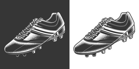 Original monochrome vector illustration of football sneakers in retro style. Design element