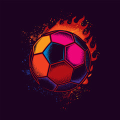 Abstract neon vector illustration of a soccer ball against a bright flame of fire. T-shirt or sticker design