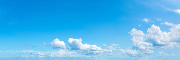 Wall Murals Blue sky Panoramic fluffy cloud in the blue sky