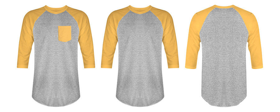 Set of blank t shirt raglan 3/4 sleeve bundle in front and back view isolated on white background. Ready for your mockup design.