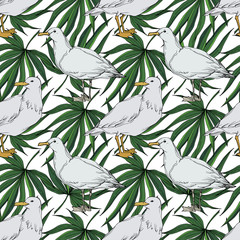 Vector Sky bird seagull in a wildlife. Black and white engraved ink art. Seamless background pattern.