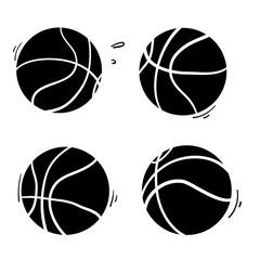 doodle basketball handdrawn illustration cartoon style vector