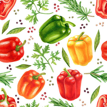 Watercolor vegetables seamless pattern with colorful bell peppers and herbs