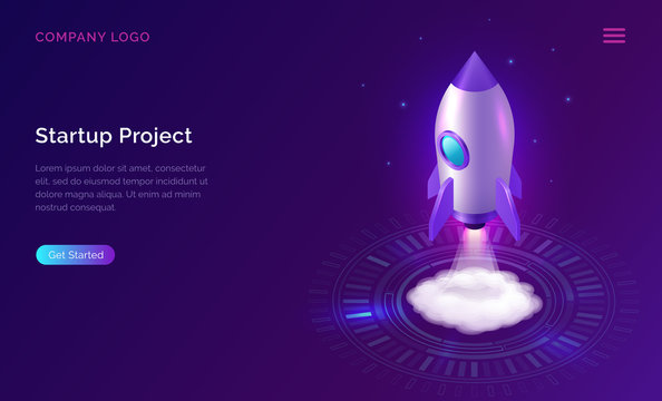 Business start up isometric concept vector illustration. Rocket taking off with fire and smoke over neon glowing circle on ultraviolet background. Spaceship launching purple web page
