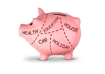 sharing of savings concept, divided piggy bank