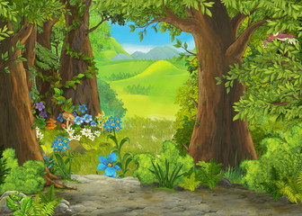 cartoon summer scene with meadow in the forest illustration for children Wall mural