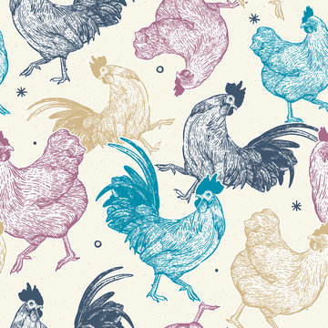 chicken collection seamless pattern, hand draw sketch vector.