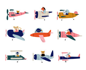 Collection of Cute Animals Pilots Flying on Retro Planes in the Sky, Elephant, Cat, Fish, Horse, Hedgehog, Coala, Mouse, Bear, Humanized Animals Characters Piloting Airplane Vector Illustration