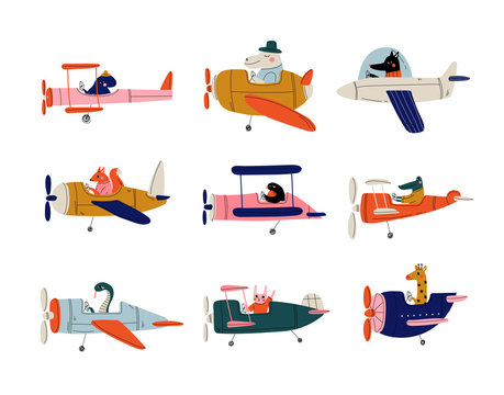 Collection of Cute Animals Pilots Flying on Retro Planes in the Sky, Octopus, Bird, Crocodile, Bunny, Snake, Giraffe, Dog, Hippo, Humanized Animals Characters Piloting Airplane Vector Illustration