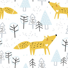 Seamless winter pattern with cute fox in forest. Creative christmas forest texture for kindergarten, fabric, wrapping, textile, wallpaper, apparel.