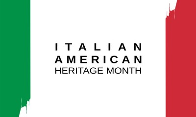 Italian American Heritage and Culture Month celebrated in October. Banner, card, poster, template. Vector EPS 10