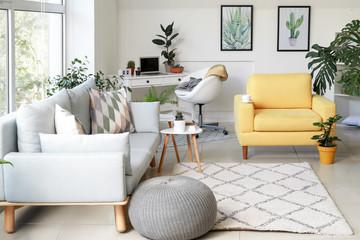 Stylish interior of room with beautiful houseplants