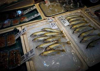 Sweetfish are displayed at a fresh fish shop at Yanagibashi Rengo Market in Fukuoka