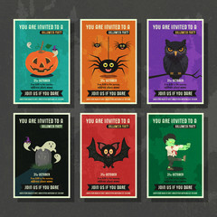 Happy halloween vector greeting card with cartoon character set.