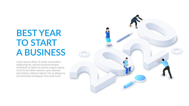 The New Year 2020 isometric number design concept. Landing page with people. Best year to start a business.