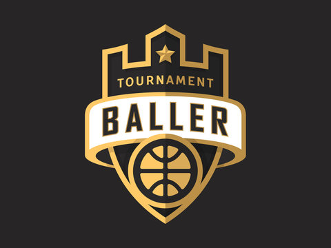 Basketball tournament sports logo template. Modern vector illustration, label and badge design. Easy to use and edit.