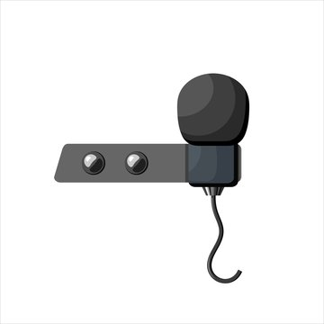 Miniature microphone of the buttonhole. A small microphone for recording quality sound on white background. Lavalier microphone
