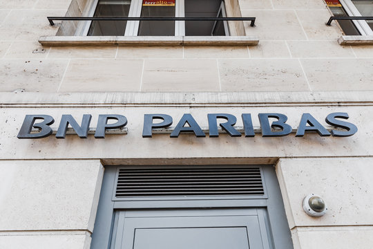 30 July 2019, Versailles, France: BNP Paribas bank sign at the entrance to the department