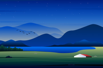 Wall Murals Dark blue landscape with mountains and lake