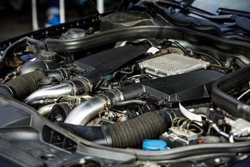 parts of the car engine. motor block. close-up