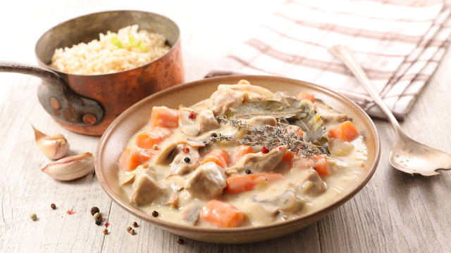 blanquette de veau, french gastronomy- veal cooked with cream,carrot and herbs