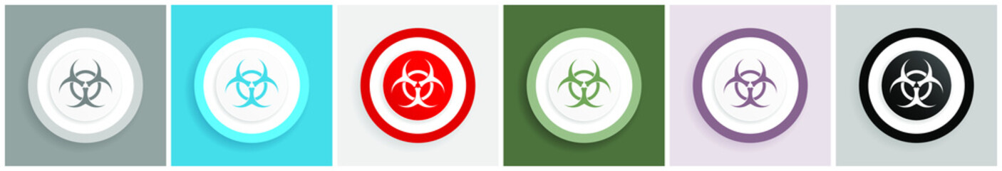 Biohazard icon set, colorful flat design vector illustrations in 6 options for web design and mobile applications