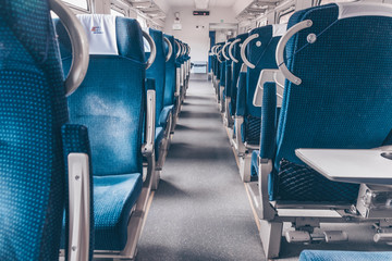 Empty seats in the train or train.