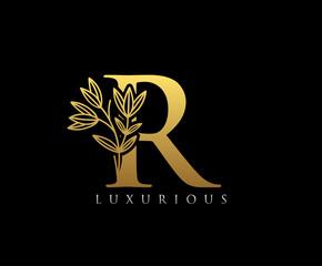 Luxury Gold R Letter Logo Icon . Initial Letter R Design Vector Luxury Gold Color.Print monogram initials stamp line art vintage symbol.