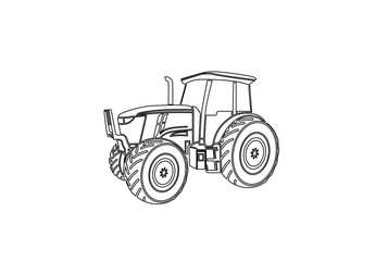 Tractor graphic line art illustration farm agriculture logo design