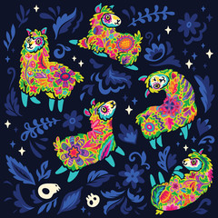 Dia de los Muertos, Day of the Dead or Halloween seamless pattern with floral alpacas