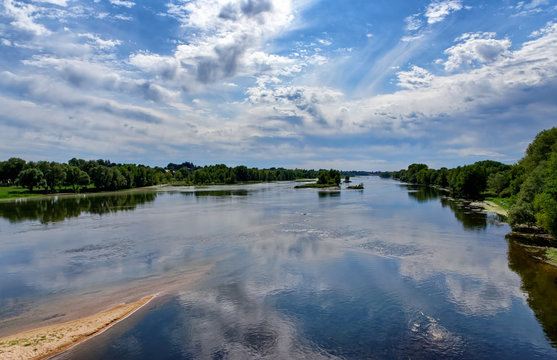 Loire river reflection in the Centre val de Loire region