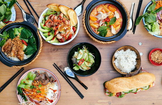Vietnam Asia Food Catering Buffet Top view