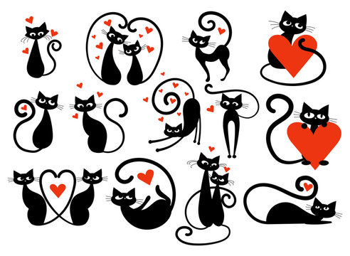 Set of black cats with hearts. Collection of cats in love. Vector illustration for kids. Tattoo.