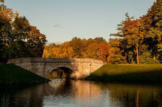 panorama of park in Gatchina in the Indian summer.