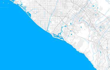 Rich detailed vector map of Newport Beach, California, USA