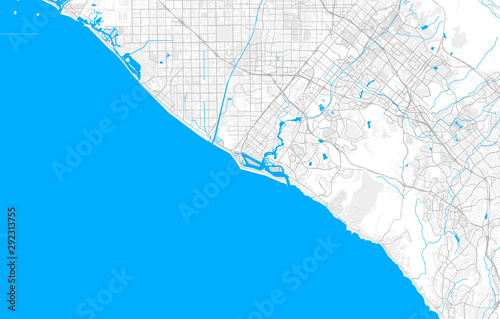 Rich detailed vector map of Newport Beach, California, USA ...