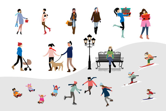 Set of winter character with tiny people having fun outdoor activities or celebrating on Christmas and new year, women walking on city streets and shopping, teenager skiing, kids playing ice skates.