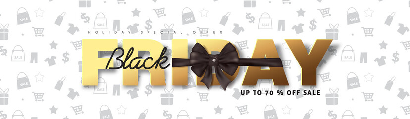 Black friday sale banner background template with Christmas Bow. Vector illustration