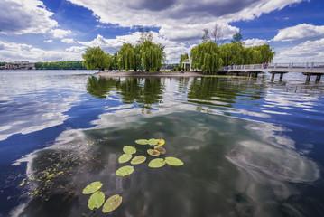 Love Islet on a large artificial lake in public park of Taras Shevchenko in Ternopil city, Ukraine